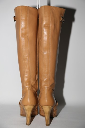 Chanel Leather Knee High Tall Beige Boots Image 7