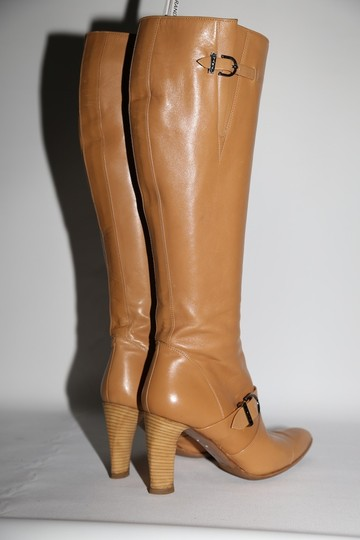 Chanel Leather Knee High Tall Beige Boots Image 9