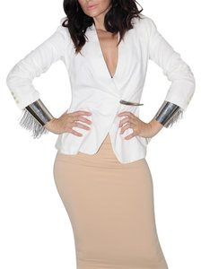 Donna Karan Structured Jersey White Blazer