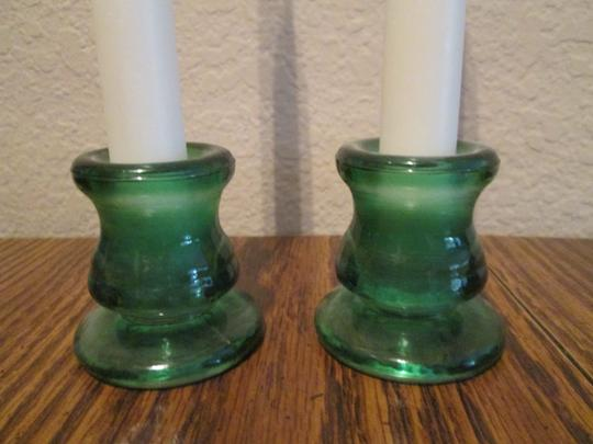 Wedding Candle sticks Brand new Candles and Candle stick holder. White & Green color Image 2