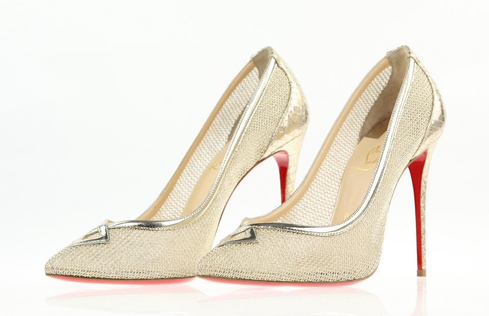 929c974ce1c Christian Louboutin Gold Classic Neoalto 100mm Metal Filet Mesh Lace  Leather Metallic Point-toe Pumps Size EU 39 (Approx. US 9) Regular (M