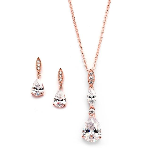 Item - Rose Gold Necklace with Pave Top Cubic Zirconia Pears 20 Jewelry Set