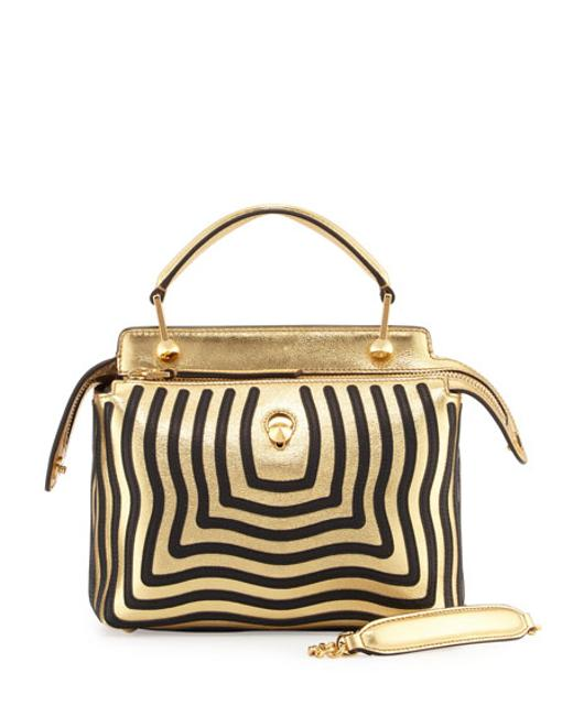 Item - Metallic with Wave Pattern Stitched All Black/Gold Lambskin Leather Cross Body Bag