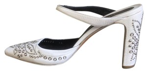 Versace Vintage Silver Studs White Mules