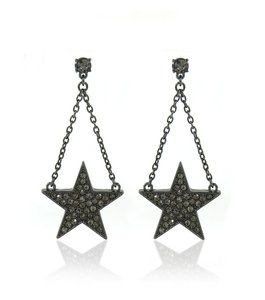 JEWELRYMAKEOVERPARTY Bold Black Star & Rhinestone Earrings