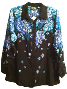 Bob Mackie Button Down Shirt Black blue green floral print with bead work
