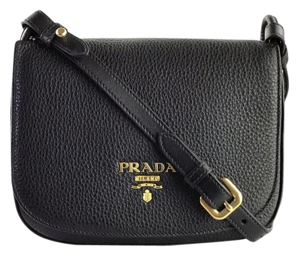 635436caebbea2 Prada Vitello Daino Saddle Black Calfskin Leather Cross Body Bag ...