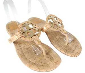Tory Burch Miller Logo Textured Gold Hardware Flip Flop Cork / Tan Sandals