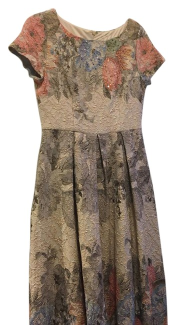 Item - Blush/Multi Beaded Floral Floral Print 04389202 Mid-length Cocktail Dress Size 6 (S)