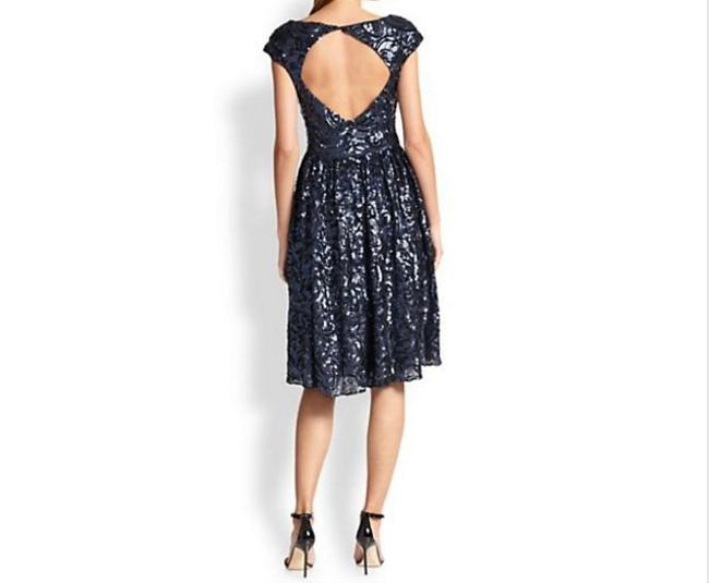 Badgley Mischka Sequin Flowy Party Keyhole Couture Dress