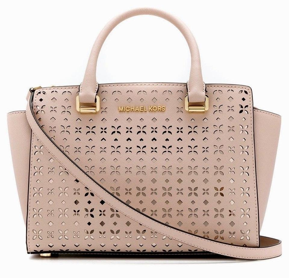 1c021000c1ba Michael Kors New Selma Perforated Floral Medium Saffiano Pink Leather  Satchel