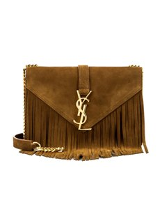 Saint Laurent Suede Fringe Gold Hardware Cross Body Bag