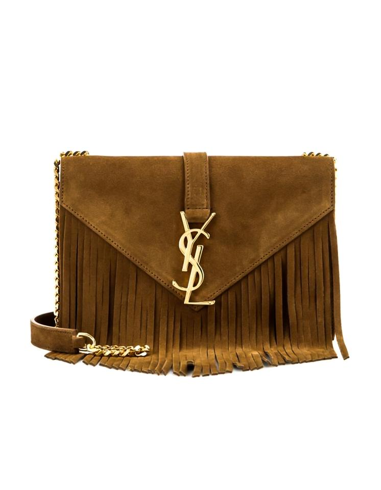 42baf75e8e Saint Laurent Monogram Small Fringe with Box and Db Camel Suede Cross Body  Bag