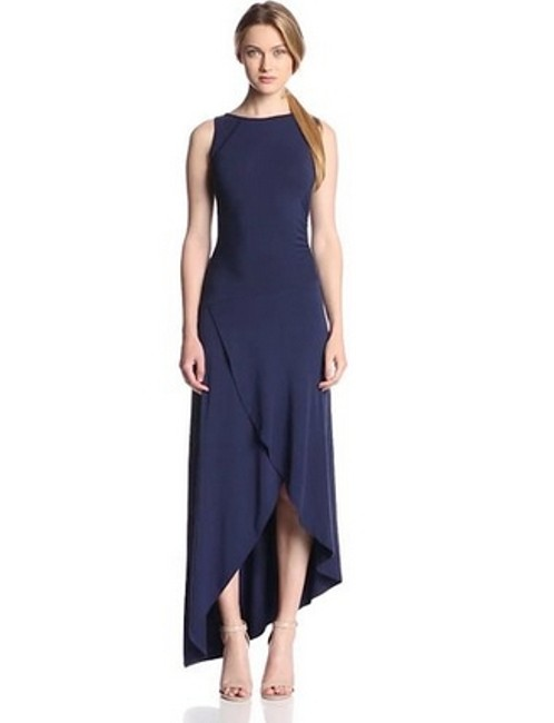 Navy Maxi Dress by Tart Sleeveless Fitted Scoop Back Drop Waist Evening Party Polyester Elegant Asymetrical Form Fitting Cocktail Body