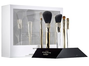 Alexis Bittar NIB Alexis Bittar Sephora liquid gold beauty makeup brush set + stand