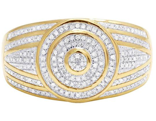 Jewelry Unlimited Men's 10K Yellow Gold Diamond Round Pinky Ring 0.31 Ct 13MM Image 1