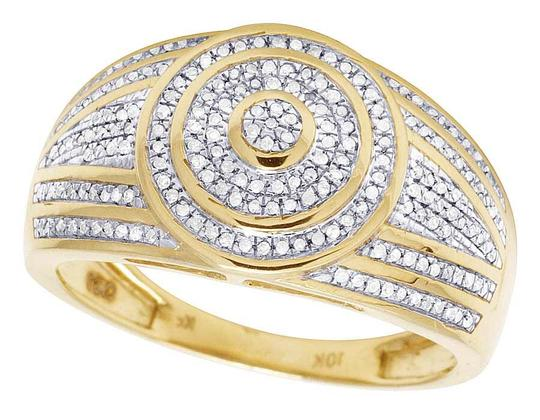 Jewelry Unlimited Men's 10K Yellow Gold Diamond Round Pinky Ring 0.31 Ct 13MM Image 2