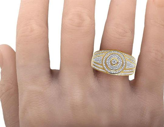 Jewelry Unlimited Men's 10K Yellow Gold Diamond Round Pinky Ring 0.31 Ct 13MM Image 4