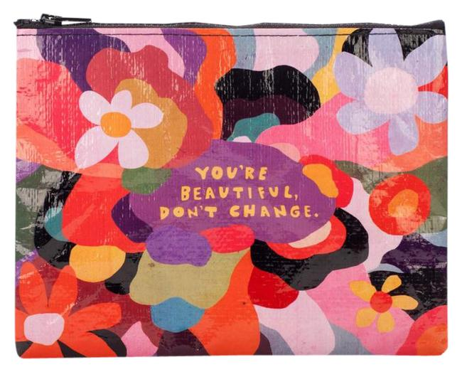 "Item - Multicolor Bundle 2 Large Zipper ""Your Don't Change "" Zipper Pouch & Dog Small Cosmetic Bag"
