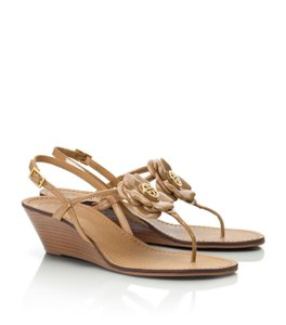 Tory Burch Floral Tan Wedges