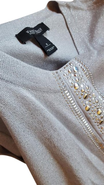 Item - 3/4 Sleeve Shimmer Sweater with Metal Like Detail Silver Top