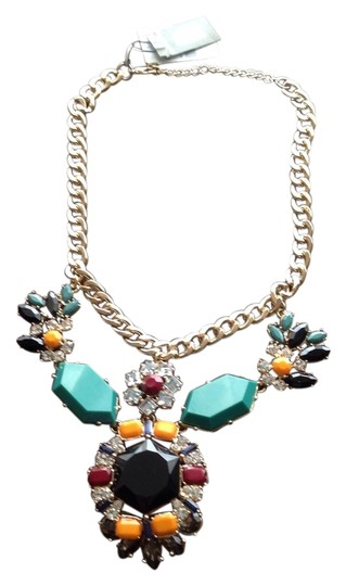 Cära Couture Jewelry Gold Link Diamond & Stones Necklace