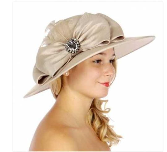 kentucky derby hat New Bow Feathers Wide Brim Hat formal hat church hat wedding hat Image 1