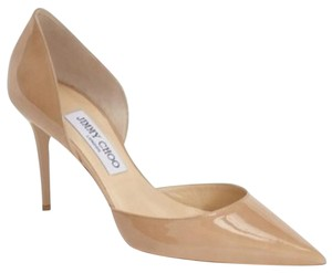 Jimmy Choo Patent Leather Italian Classic Taupe/Neutral Pumps