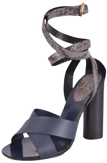 Gucci Leather Python Strappy Blue Sandals Image 0