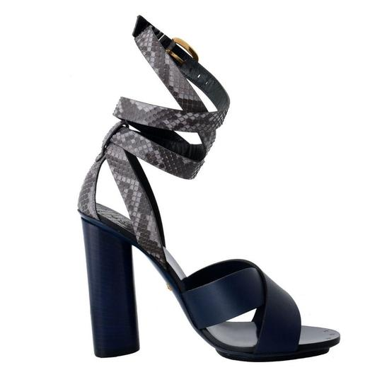 Gucci Leather Python Strappy Blue Sandals Image 2