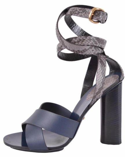 Gucci Leather Python Strappy Blue Sandals Image 3