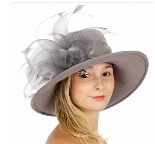 kentucky derby hat New Wool hat with netted feathered bow Formal church Hat Image 1