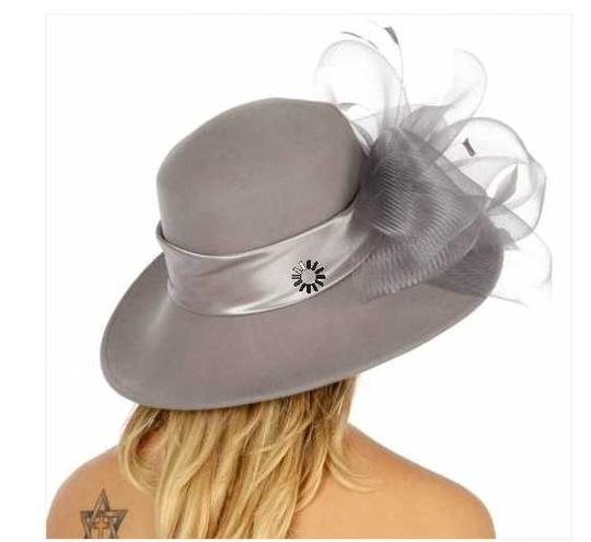 kentucky derby hat New Wool hat with netted feathered bow Formal church Hat Image 2