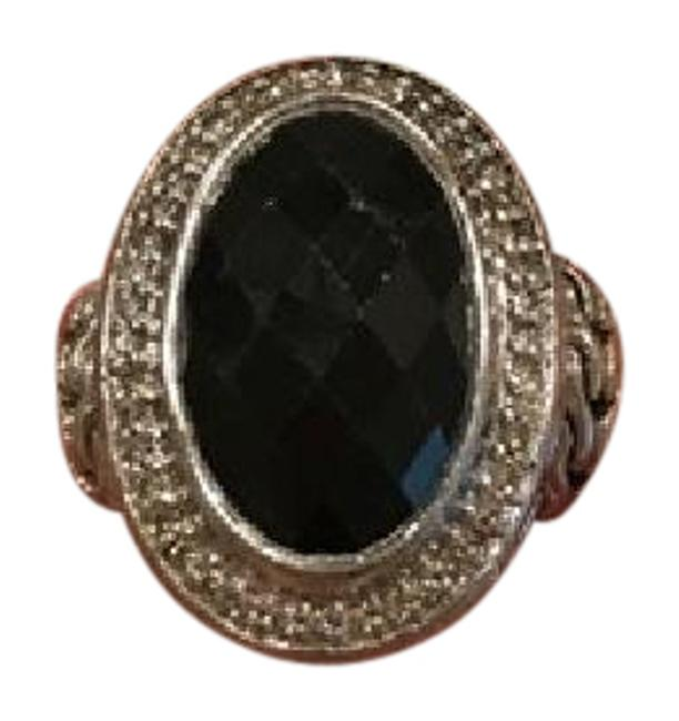 Item - Sterling Silver with Black Stone 925 Size 10 Ring
