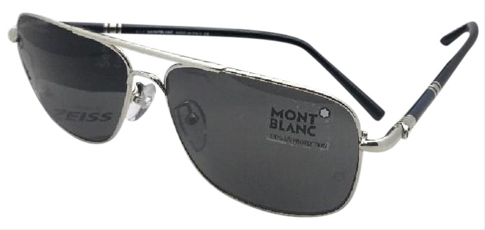 2352464020d Montblanc New Mb 508t 16a 61-14 145 Silver Aviator Frame W  Grey Lens W   Sunglasses