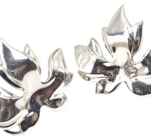 Tiffany & Co. Rare Vintage Sterling Silver LARGE Maple Leaf Earrings
