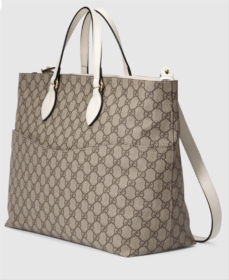 0d867a27a085 Gucci Soft Gg Supreme Beige and White Canvas with Leather Trim ...