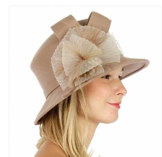 kentucky derby hat New Fashionable Dress Hat Formal Wool bucket hat with ribbon Image 1