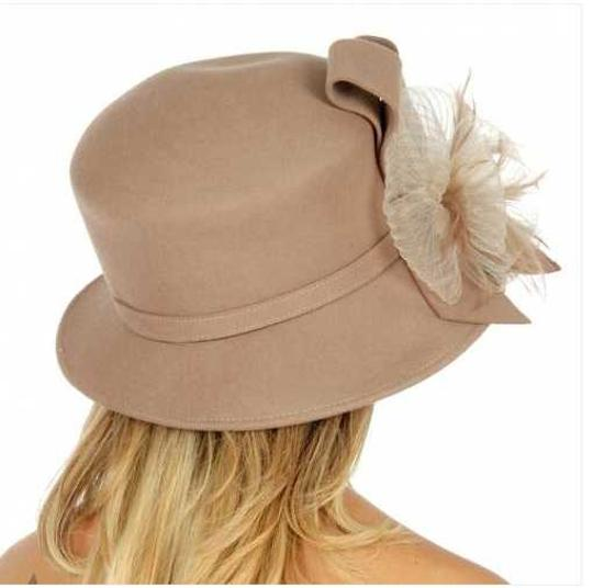 kentucky derby hat New Fashionable Dress Hat Formal Wool bucket hat with ribbon Image 2