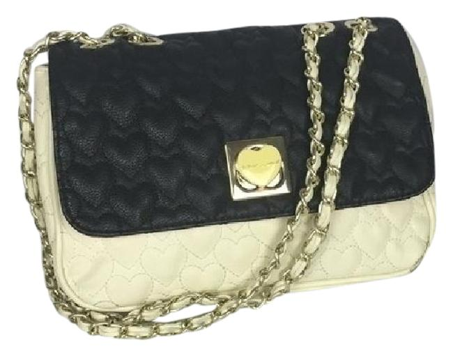 Item - Heart Quilted Black White Faux Leather Shoulder Bag