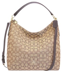 Coach Strap Slouchy Monogram Zip Top Leather Hobo Bag