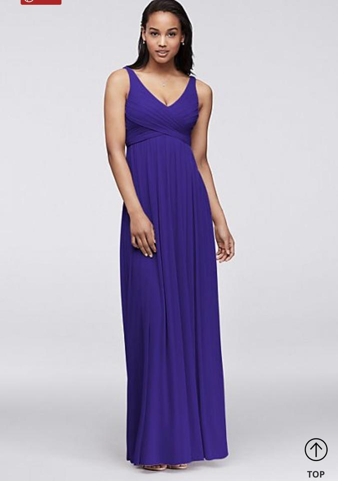 David 39 s bridal royal blue long mesh dress with cowl back for Wedding dress with blue detail