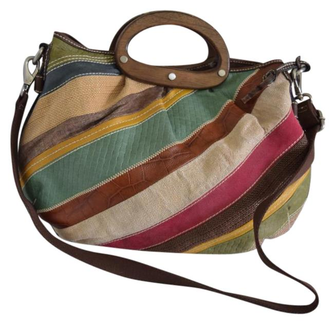 Item - Patchwork Multi Color Leather and Canvas Satchel