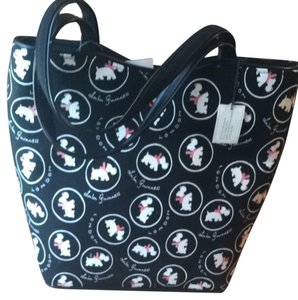 Lulu Guinness Tote in black fabric with white scottie dog print