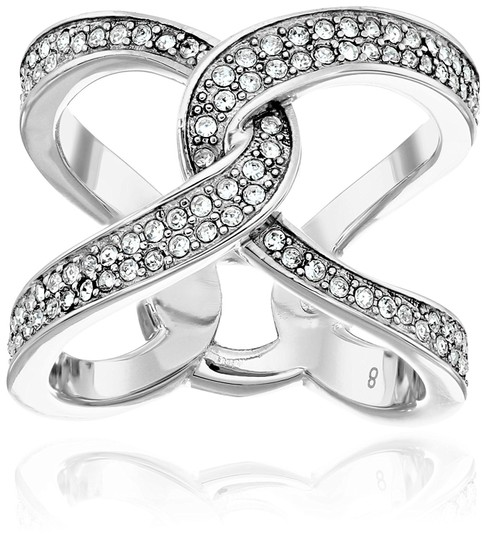 Michael Kors MKJ5949 Michael Kors Silver Tone Interlocking Crystal Pave Ring Image 3