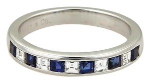 e2f995d09e70 Tiffany   Co. Square Diamonds Sapphire Platinum Stack Band Ring Size 6.5
