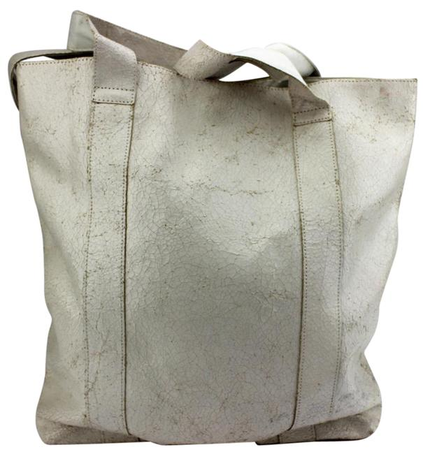 Item - Wrinkle Large Shopper White Leather Tote