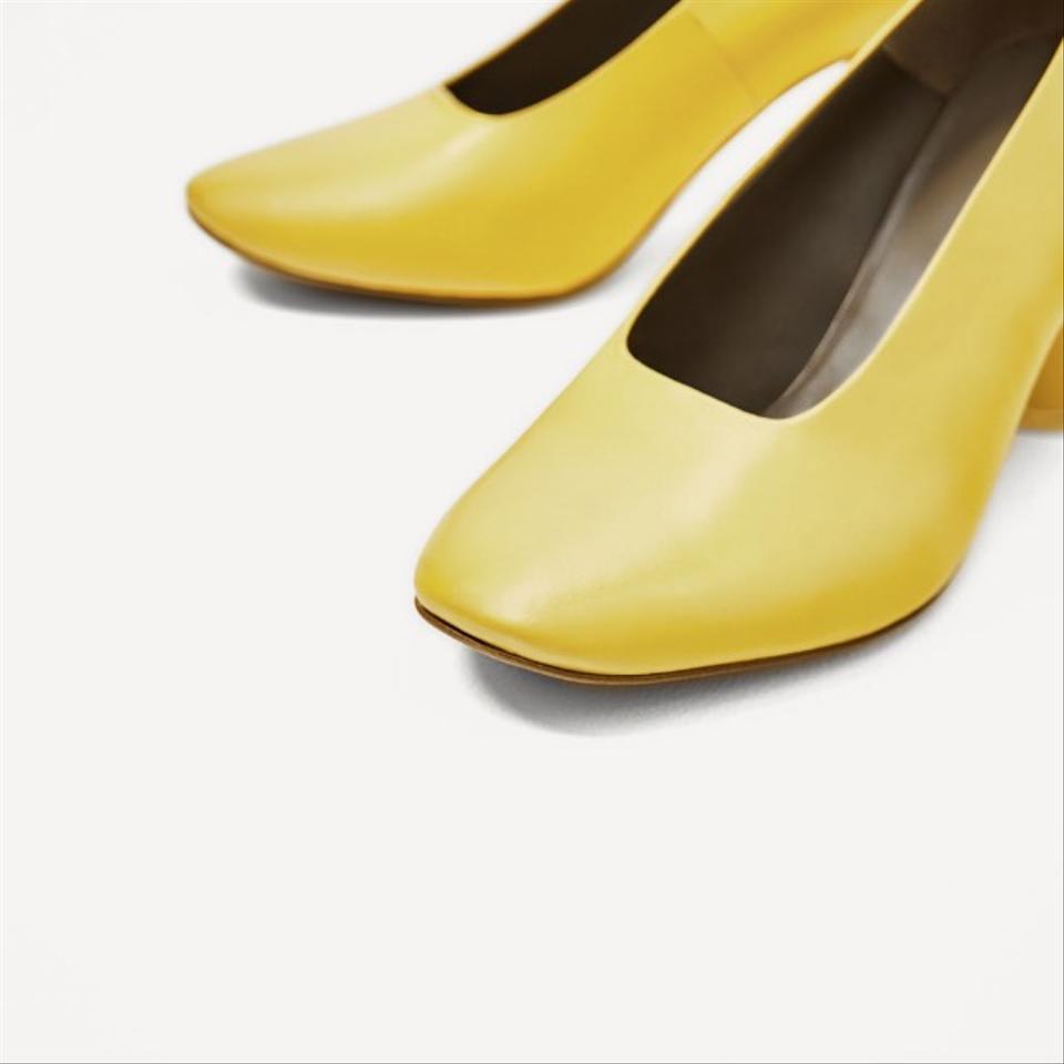7b49e23c82d Zara Yellow Leather Mid Heel Pumps Size US 6 Regular (M