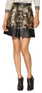 Ark & Co. Sequin Leather Party Vegan Mini Skirt Black & gold