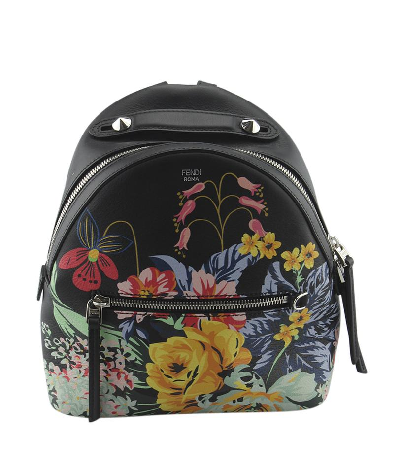 Fendi Fendi 8BZ038 Resort 2017 Black Leather Floral Mini Backpack (132458)  ... 723712134a044